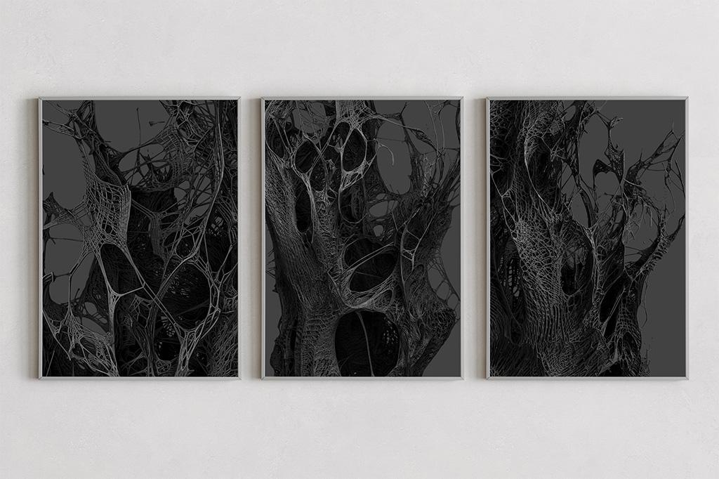 Mesh dark prints by Gerard Puxhe