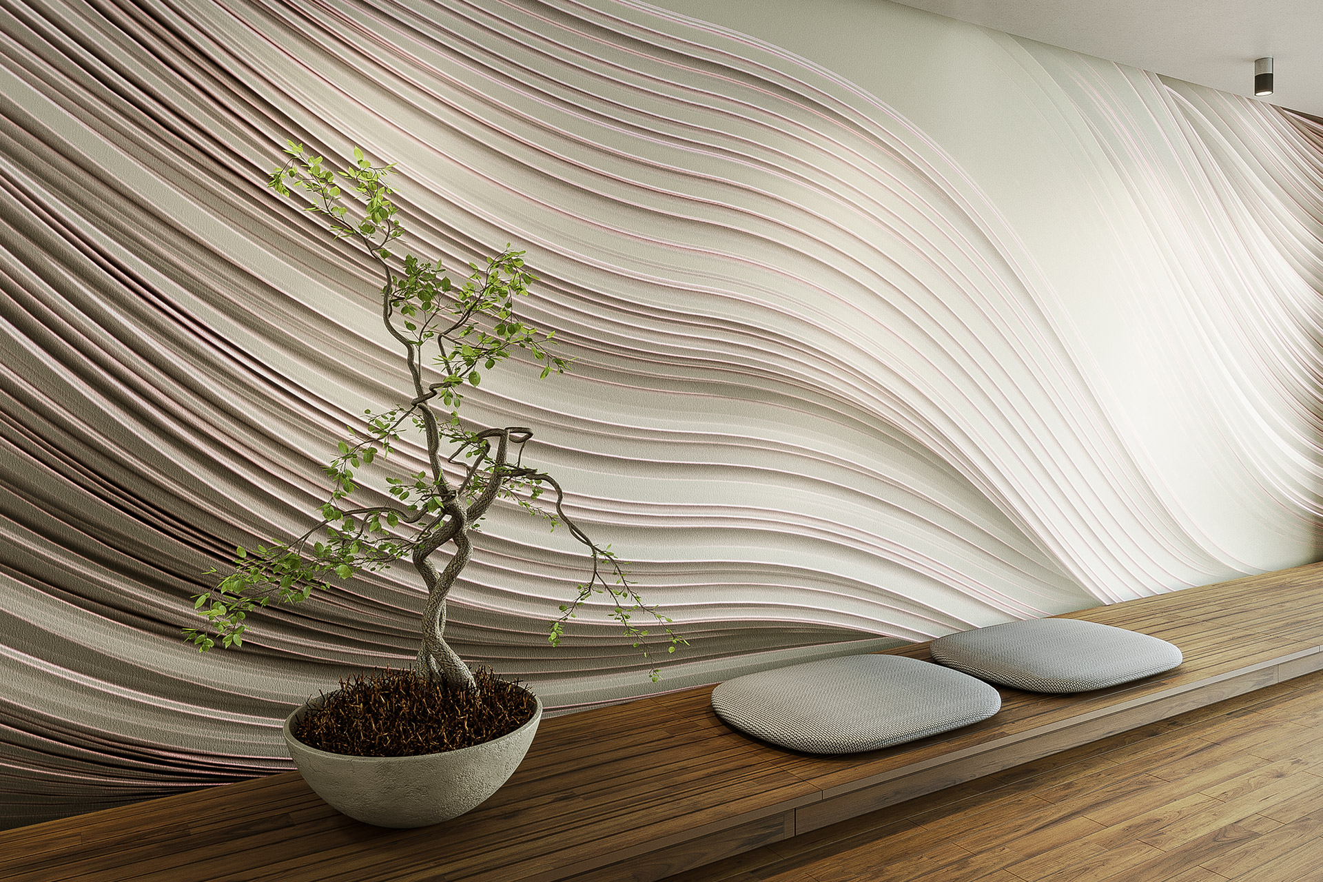 Twist wallpaper sand by Gerard Puxhe